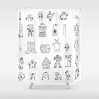 robots Shower Curtains featuring robots by Aaron Cushley