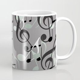 Many Music Notes with clef grey and black Coffee Mug