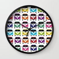 vw Wall Clocks featuring VW Campervan by chauloom