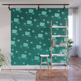 Space age retro teal squares decorator pattern Wall Mural