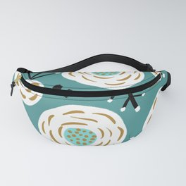 Teal and white florals Fanny Pack
