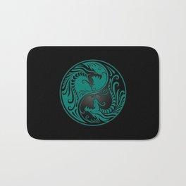 Teal Blue and Black Yin Yang Dragons Bath Mat