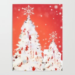 Three White Christmas Trees | Nadia Bonello Poster