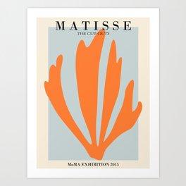Henri matisse the cut outs blue and orange contemporary, modern minimal art Art Print