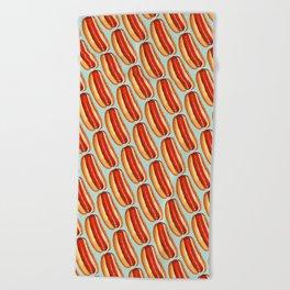 Hot Dog Pattern Beach Towel