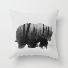Watched By Grizzly b&w Throw Pillow