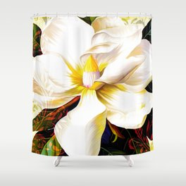Italian Magnolia, Mediterranean floral art Shower Curtain