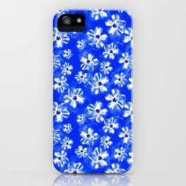 Blue Tropical Flower Pattern iPhone Case