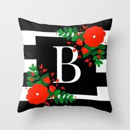 B - Monogram Initial Letter Throw Pillow