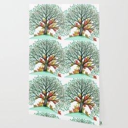 Nebraska Whimsical Cats in Tree Wallpaper