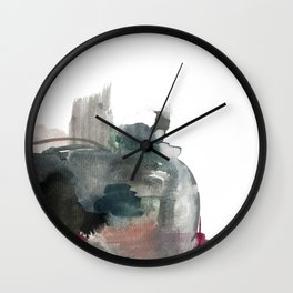 Begin: a minimal abstract mixed media piece Wall Clock