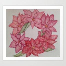Christmas Pointsetta Wreath Art Print