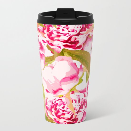 Lovely Peony Flowers Blossom - Summer Garden Metal Travel Mug
