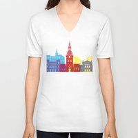 oslo V-neck T-shirts featuring Oslo skyline pop by Paulrommer