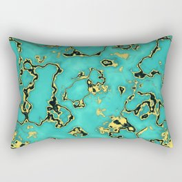 Turquoie Gold Marble Green Mint Aqua Rectangular Pillow