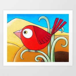 Little Red Bird  Art Print