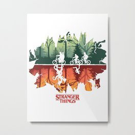 Stranger Thing And Monster Metal Print