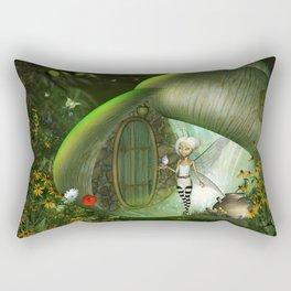 Little fairy  with bird Rectangular Pillow