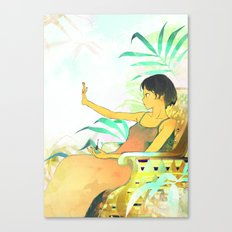 Woman painting a manicure Canvas Print