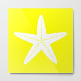 Starfish (White & Yellow) Metal Print