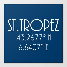 St. Tropez Latitude Longitude Canvas Print