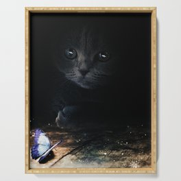 Cat looking at a blue butterfly by GEN Z Serving Tray