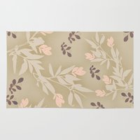 vintage flowers Area & Throw Rugs featuring vintage flowers by Julia Tomova