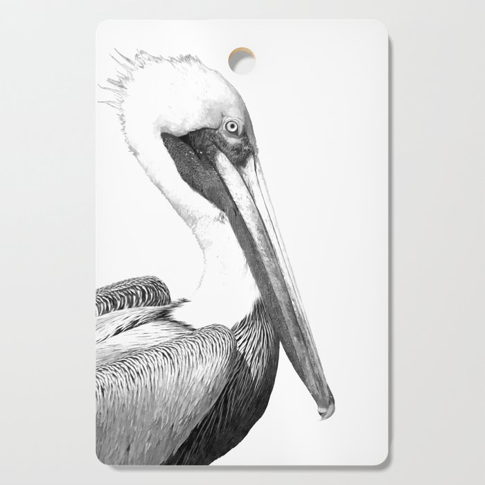 Black and White Pelican Cutting Board