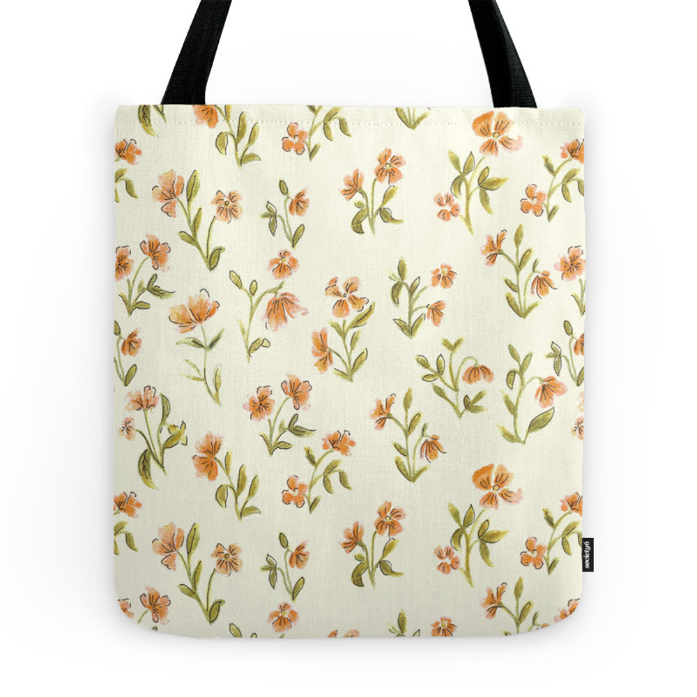 Orange Vintage Floral Pattern Tote Purse by aljahorvat (TBG7655798) photo