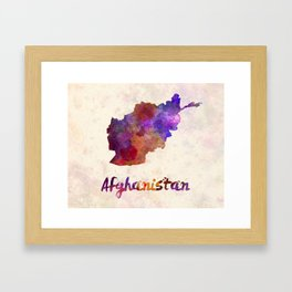 Afghanistan in watercolor Framed Art Print