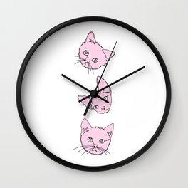 Three pink cats illustration Wall Clock