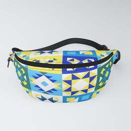 Moroccan tiles pattern with blue and yellow no4 Fanny Pack