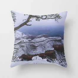 Snowy Grand Canyon Mesa Throw Pillow