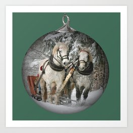 Christmas Horses Art Print