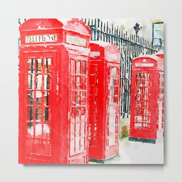 Colorful Red Telephone Booths in London Watercolor Painting Print Metal Print