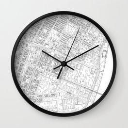 Abstract Map of New York City Manhattan Lower East Side Wall Clock