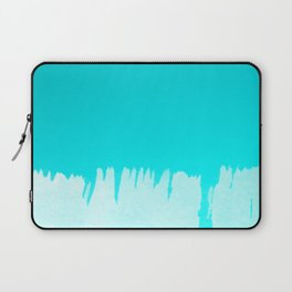 Modern turquoise ombre white abstract watercolor brushstrokes Laptop Sleeve