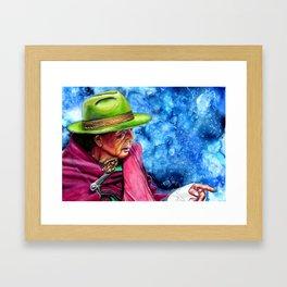 Lady pointing Framed Art Print