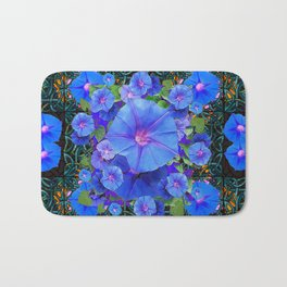 Modern Art  Blue Morning Glories Green Floral Bath Mat