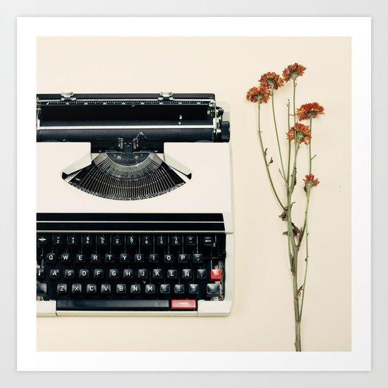 The Nostalgic Typewriter (Retro and Vintage Still Life Photography) Art Print