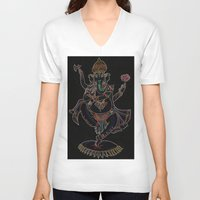 ganesh V-neck T-shirts featuring Ganesh by Zack Bryson