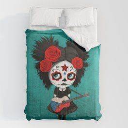 Day of the Dead Girl Playing Czech Flag Guitar Comforters