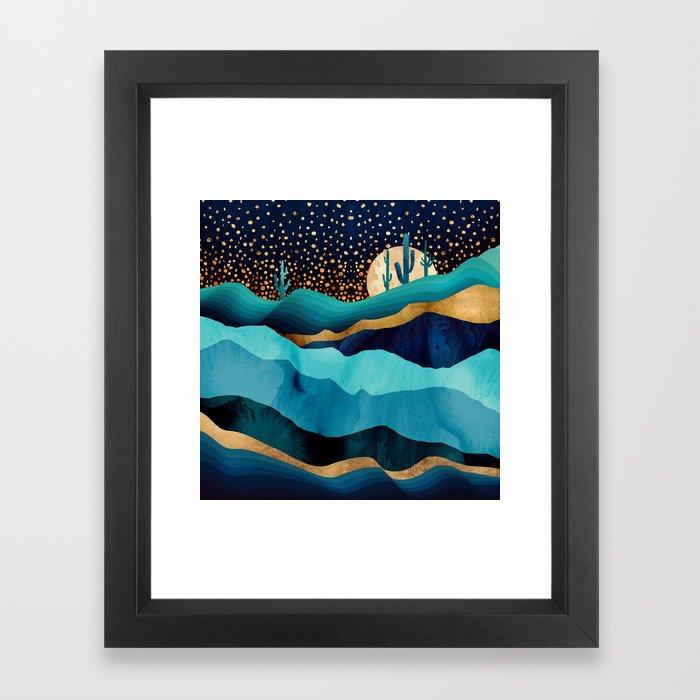 Indigo Desert Night Framed Art Print