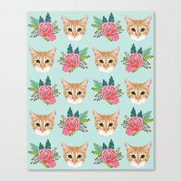 Tabby cat florals flowers must have cat themed gifts pet portrait cat lady mint pastel cat art fur Canvas Print