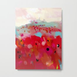red poppies field abstract Metal Print