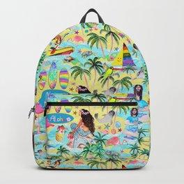 Yoga Aloha Hawaiian Tropical mermaid , flamingos, yoga floats floral Backpack