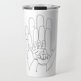 Family of Four Hands One Line Drawing Travel Mug