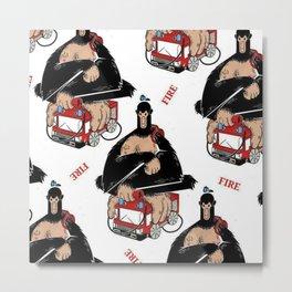 fireman and firetruck Metal Print