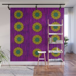 Abstract Peacock and floral pattern Wall Mural