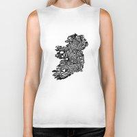 ruben ireland Biker Tanks featuring Typographic Ireland by CAPow!